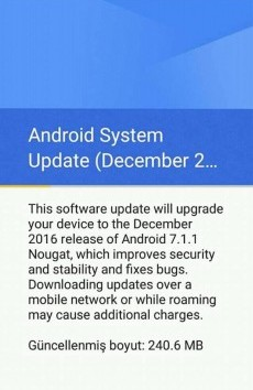 Google Android One 7.1.1 Nougat OTA Update Screenshot