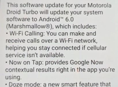 Moto Droid Turbo Verizon 6.0.1 Marshmallow OTA Update Screenshot