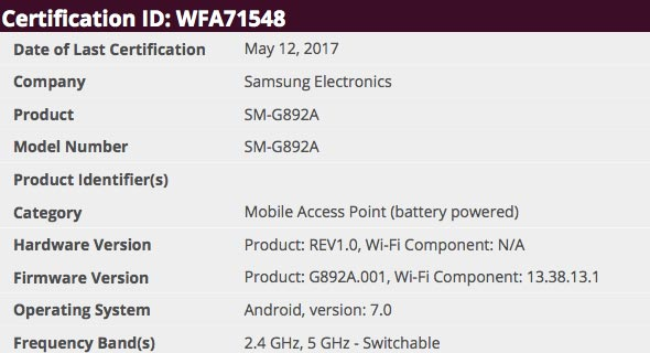 Samsung Galaxy S8 Active Clears Wi-Fi Alliance Screenshot