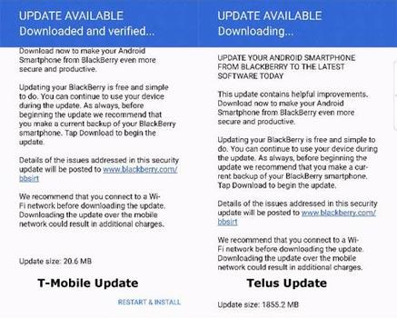 BlackBerry PRIV May 2017 OTA Update Screenshot