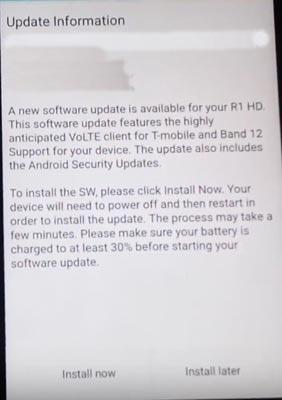 Blu R1 HD T-Mobile VoLTE OTA Update Screenshot