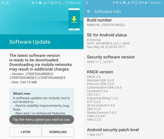 Samsung Galaxy J7 SM-J700F May 2017 OTA Screenshot