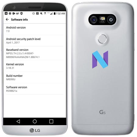 LG G5 RS988 Nougat OTA Update