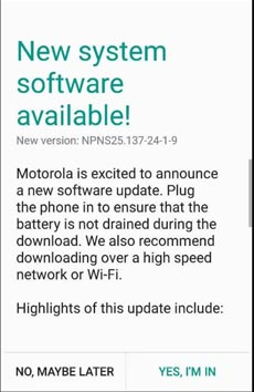 Moto Z Play May 2017 OTA Update Screenshot