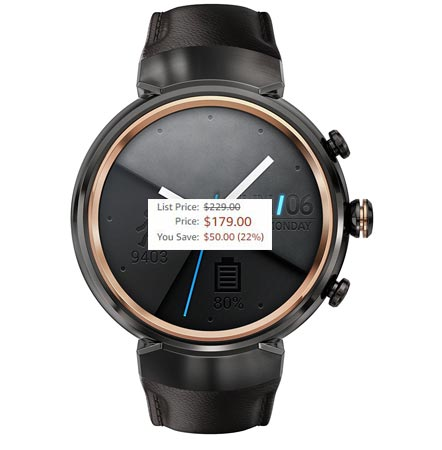 ASUS ZenWatch 3 Black Friday 2017 Deal For $179