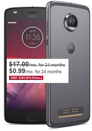Moto Z2 Play Verizon Black Friday 2017 Deal $24