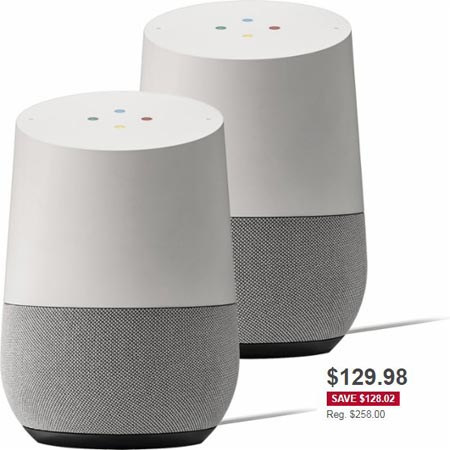 Google Home 2 Pack December 2017 Deal For $130