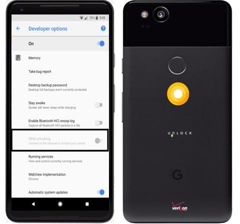 Unlocking Bootloader Google Pixel 2 Pixel 2 XL Verizon