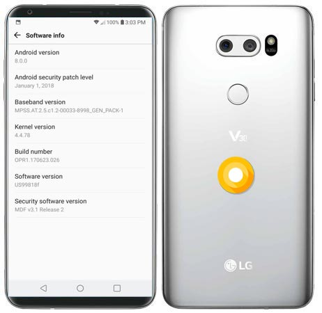 LG V30 Oreo OTA Update US99818f With January 2018 Patch