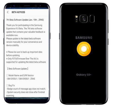 Samsung Galaxy S8 Plus Oreo Beta 7 OTA ZRAE