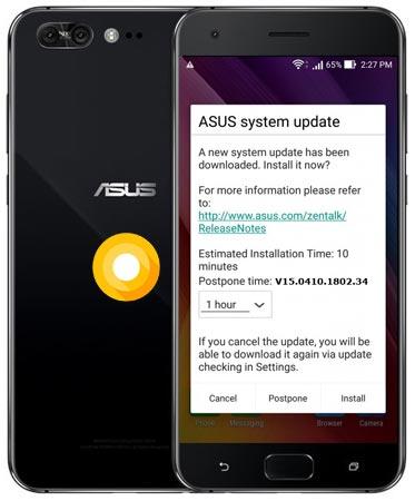 Asus Zenfone 4 Pro ZS551KL Oreo OTA Update 8.0