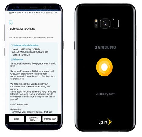 Samsung Galaxy S8 Plus Sprint SM-G955U Oreo Official OTA G955USQU2CRB9