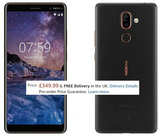 Nokia 7 Plus Pre-Order Amazon UK GBP 350