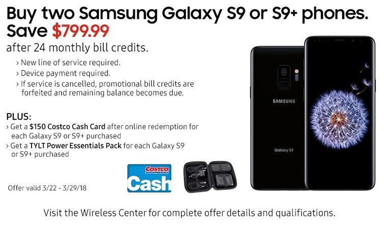 Samsung Galaxy S9 S9 Plus Verizon Bogo Deal Buy Two Get Credit USD 950