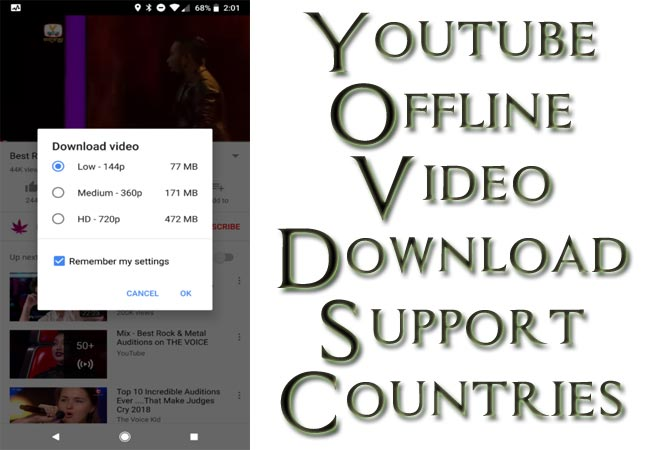 Youtube App Offline Videos Support Countries