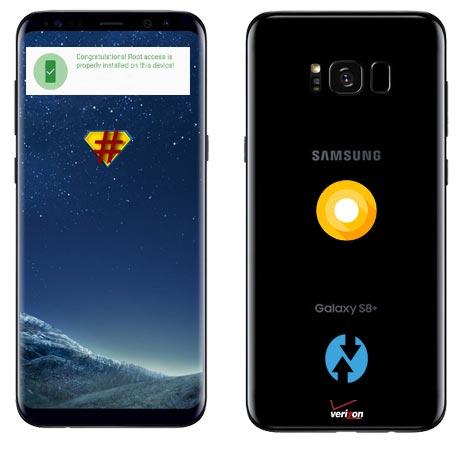 Root Samsung Galaxy S8 Plus Verizon Wireless USA SM-G955U Oreo Install TWRP