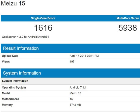 Meizu 15 Appears GeekBench With Nougat Version