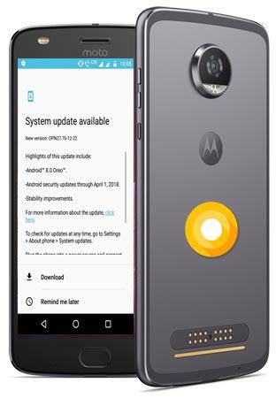 Moto Z Play India Oreo Official OTA 8.0 Update OPN27.76-12-22