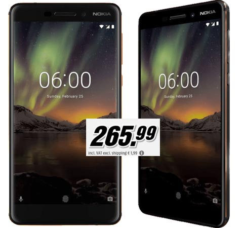 NOKIA 6 2018 Available UK EUR 266 With Display Finger Print Sensor