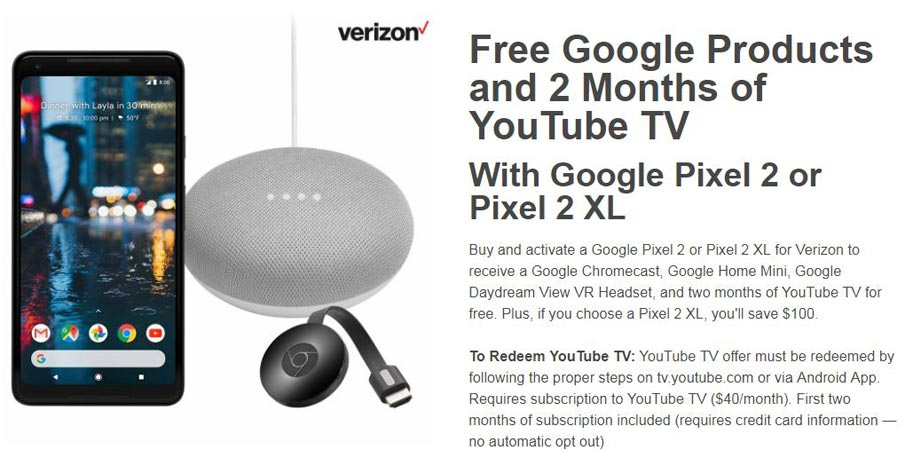 Google Pixel 2 XL Best Buy Deal Free Google Products Plus USD 100 Offer