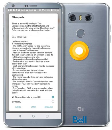 LG G6 Bell Canada Oreo OTA Official Update