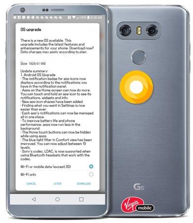LG G6 Virgin Mobile Canada Oreo OTA Official Update