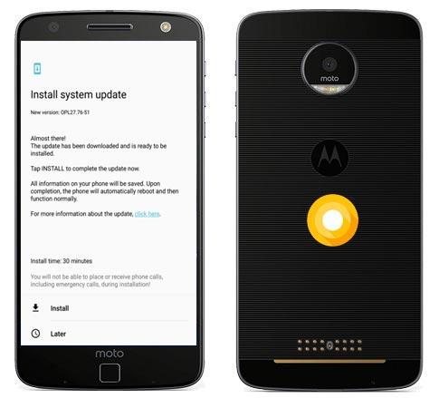 Moto Z US Unlocked Oreo Official OTA 8.0 Update