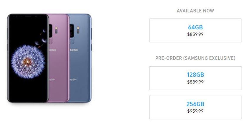 Samsung Galaxy S9 Plus 128 GB 256 GB Pre-Order US Region Available