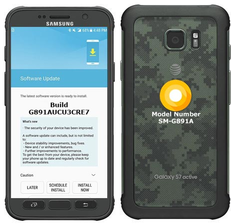 Samsung Galaxy S7 Active AT&T USA SM-G891A Oreo Official OTA G891AUCU3CRE7