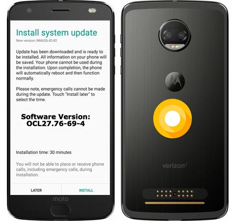 Moto Z Force Droid Edition Verizon Wireless USA Oreo Official OTA 8.0 Update