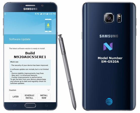 Samsung Galaxy Note 5 AT&T USA SM-N920A June 2018 Official OTA N920AUCS5ERE1