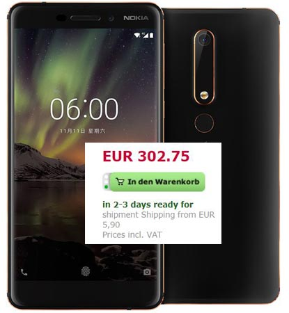 NOKIA 6 2018 64 GB Available France EUR 303