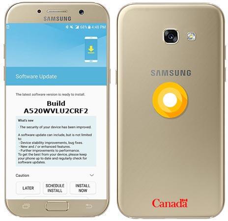 Samsung Galaxy A5 2017 Canada SM-A520W Oreo Official OTA A520WVLU2CRF2