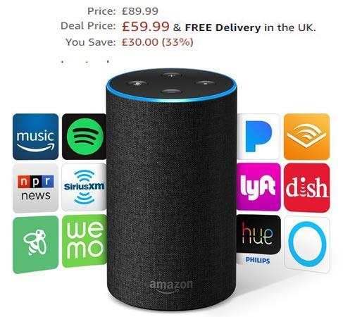 Amazon Echo 2nd Gen Prime Deal UK Region GBP 60