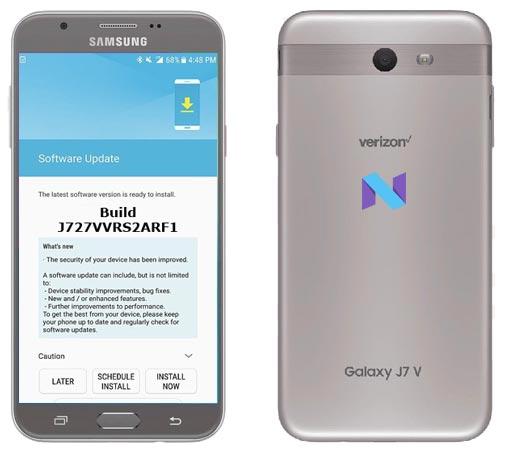 Samsung Galaxy J7 V Verizon SM-J727V July 2018 Official OTA J727VVRS2ARF1