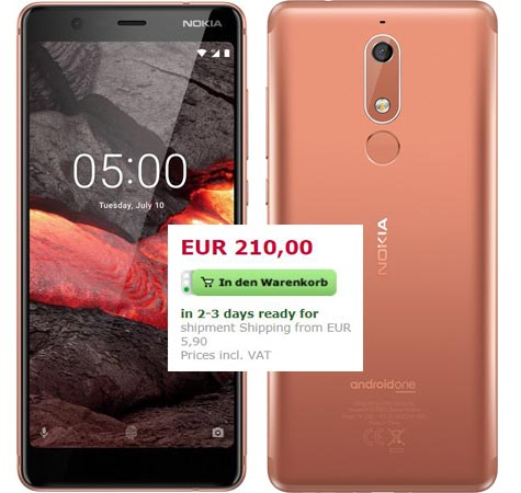 Nokia 5.1 2018 Pre-Order Available Germany EUR 210
