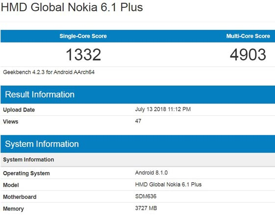 Nokia 6.1 Plus Appears GeekBench Will Release Soon
