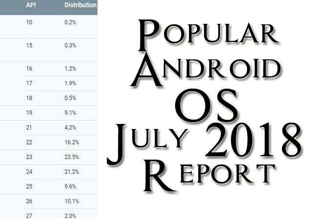 Popular Android OS July 2018 Report