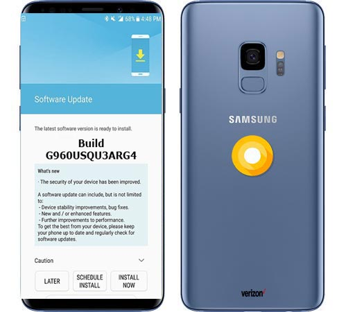 Samsung Galaxy S9 SM-G960U Verizon Wireless USA August 2018 OTA G960USQU3ARG4