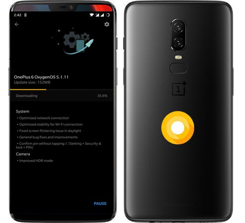 OnePlus 6 OxygenOS 5.1.11 Oreo Official OTA Update