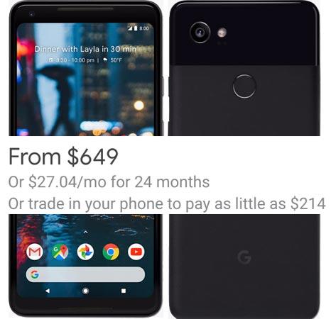 Google Pixel 2 XL Project Fi Deal USD 649