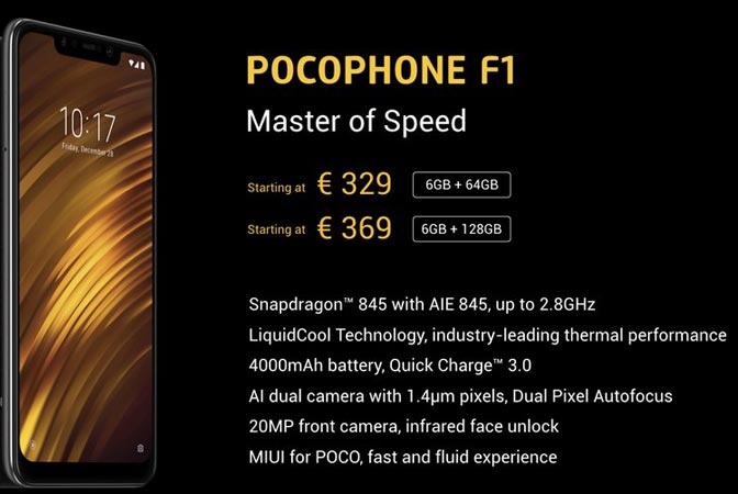 Xiaomi POCOPHONE F1 Global Edition Launched Europe Region EUR 329