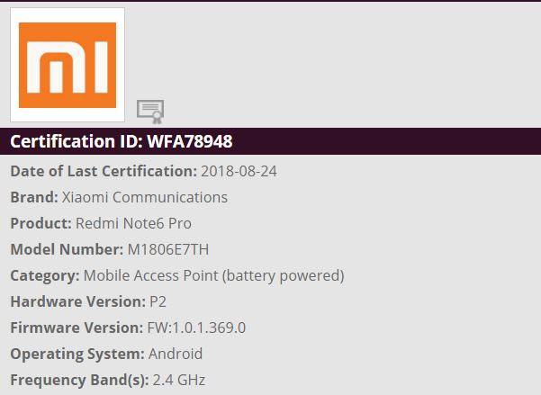 Xiaomi Redmi Note 6 Pro Clears Wi-Fi Alliance