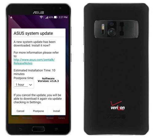 ASUS ZenFone AR Verizon v3.8.3 Update September 2018