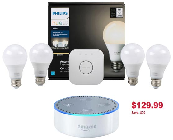 Philips Hue A19 Smart Bulb Starter Kit and Amazon Echo Dot Canada Deal CAD 130
