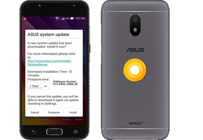 ASUS ZenFone V Live Verizon Oreo Update V15.0405.1808.30 With September 2018 Patch