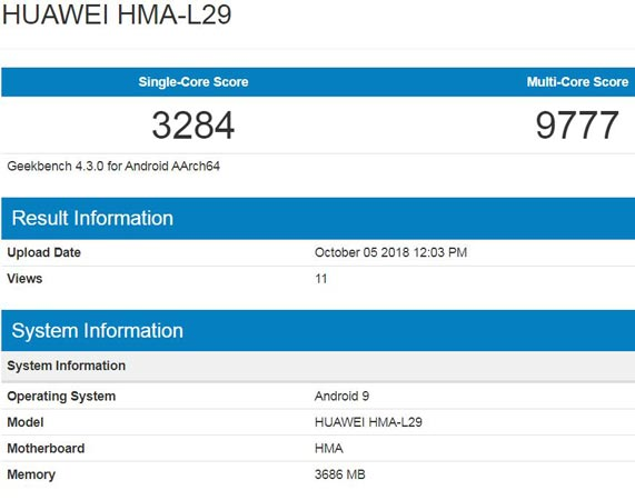 Huawei Mate 20 Appears GeekBench With 4GB RAM