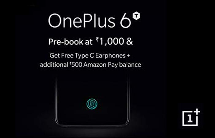 OnePlus 6T Pre-Order Offer Free Type C Earphone and INR 500 Amazon Pay Balance