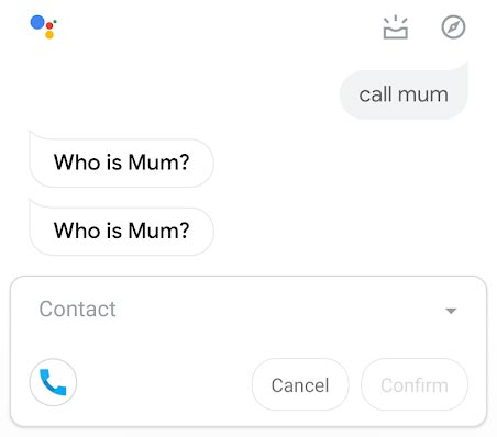 Making Calls Using Google Assistant App Screenshot