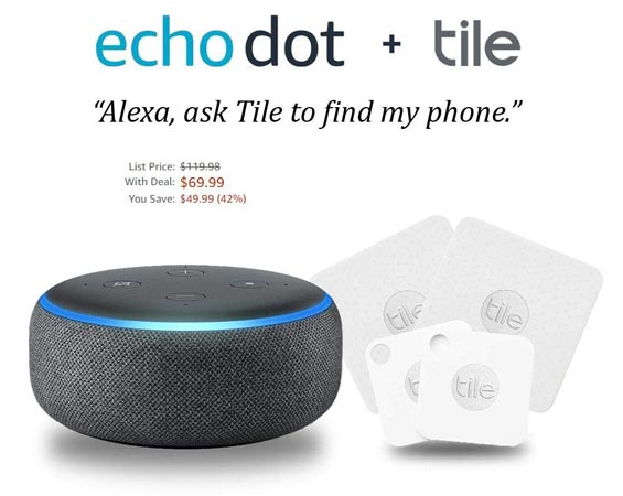 Amazon Echo Dot 3rd Gen 4 Pack With Free Tile Deal USD 70